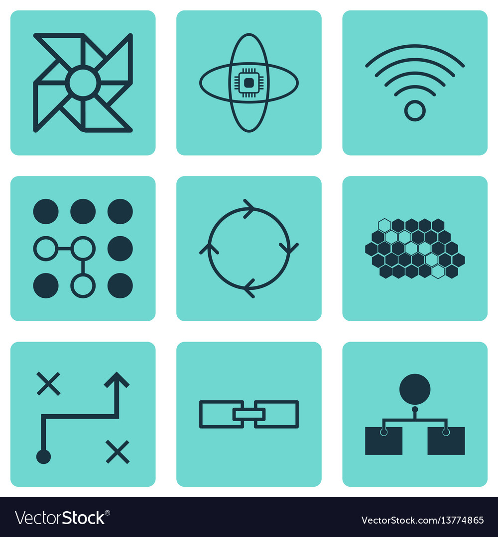 Set Of 9 Machine Learning Icons Includes Solution