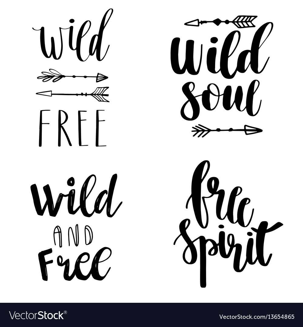 Set of boho style lettering quotes and hand drawn