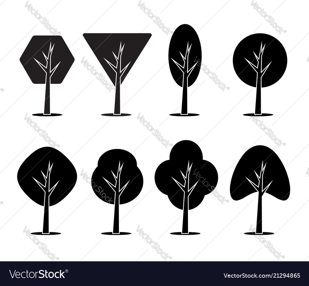 Set of icons of trees