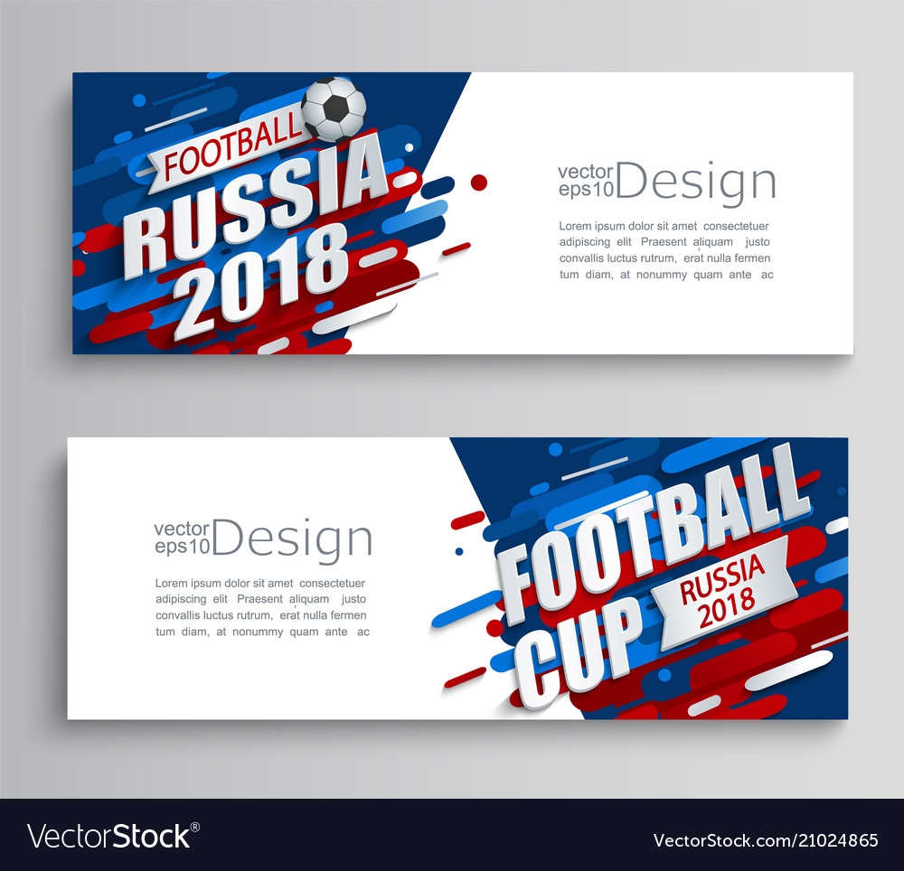 Set of two modern cards of a football cup 2018