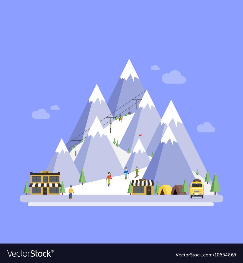 Ski Resort Mountain landscapes flat
