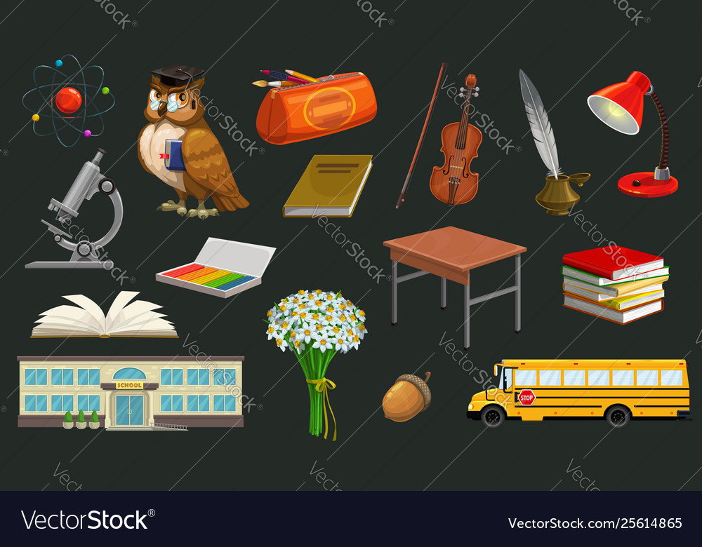 Welcome back to school symbols owl and table bus