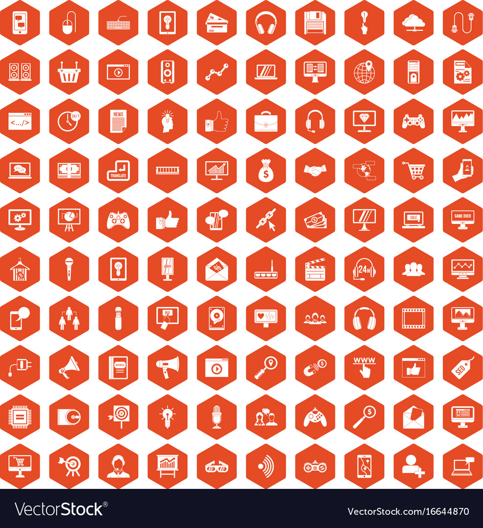 100 web and mobile icons hexagon orange vector image