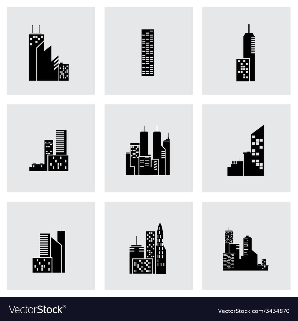 Black building icon set