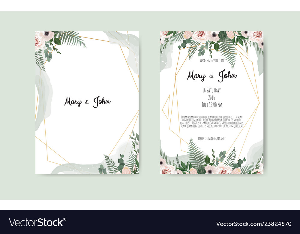 Botanical Wedding Invitation Card Template Design