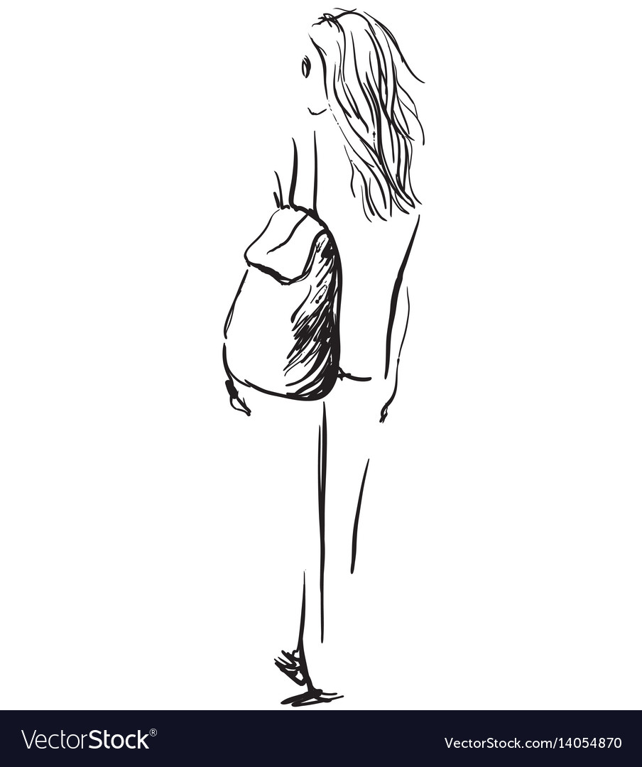 Fashion of girl with a backpack