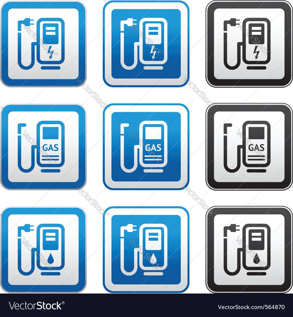 Gas Station Symbols Royalty Free Vector Image Vectorstock