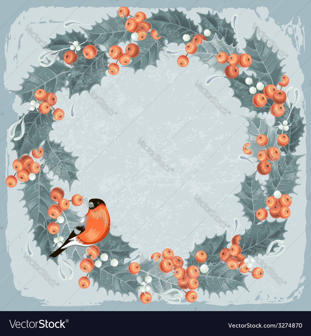 Holly berry wreath vector image