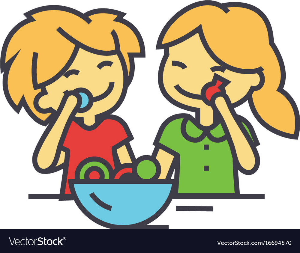 Kids eating candy concept line icon