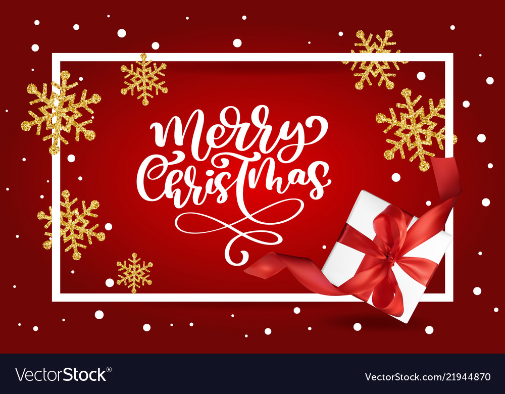 Merry christmas lettering red background