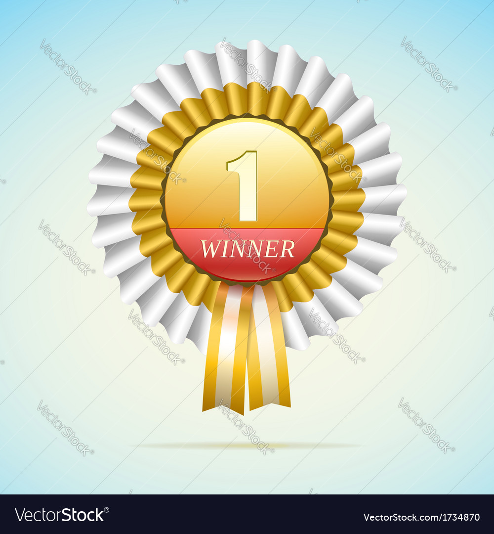 Number one golden award with white and gold ribbon vector image