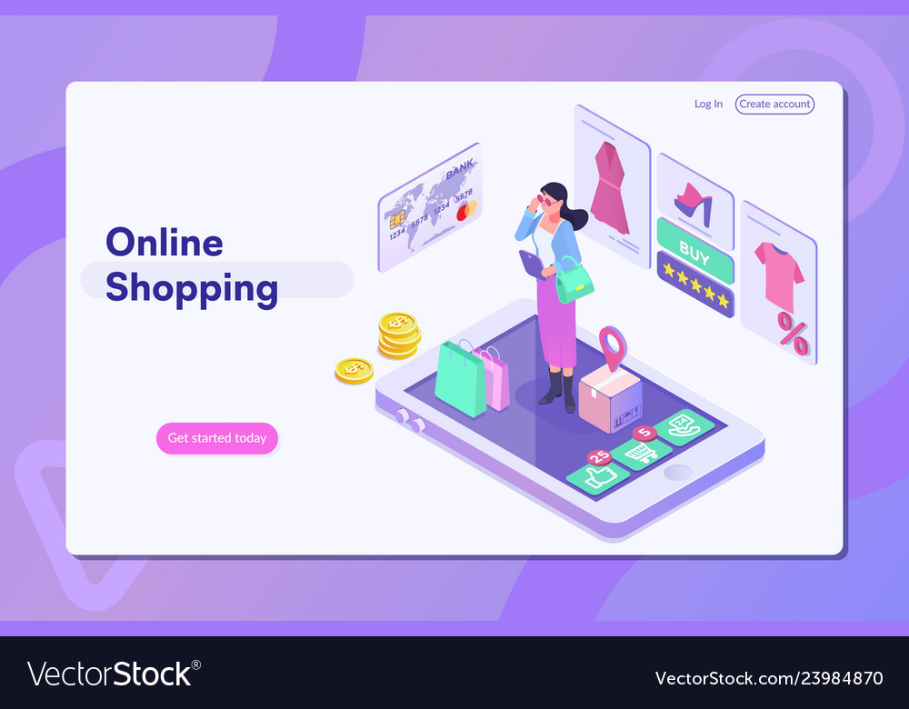 Online shoppinglanding page with people or buyers