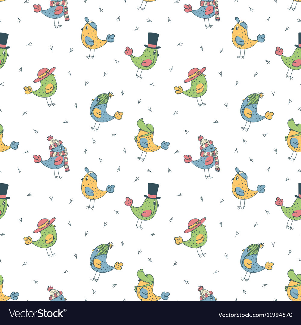 Pattern of 6 fanny birds in different hats