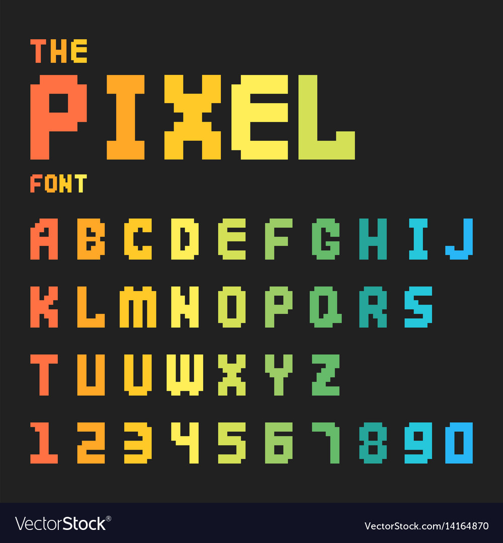 Pixel retro font video computer game design 8 bit