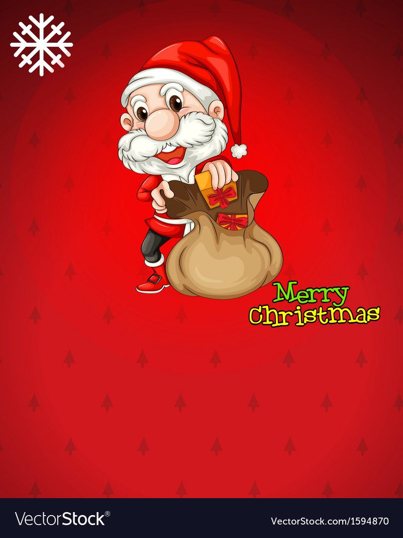 Santa with a brown bag full gifts