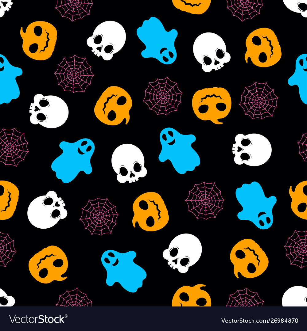 Seamless pattern with pumpkin ghosts skeleton and