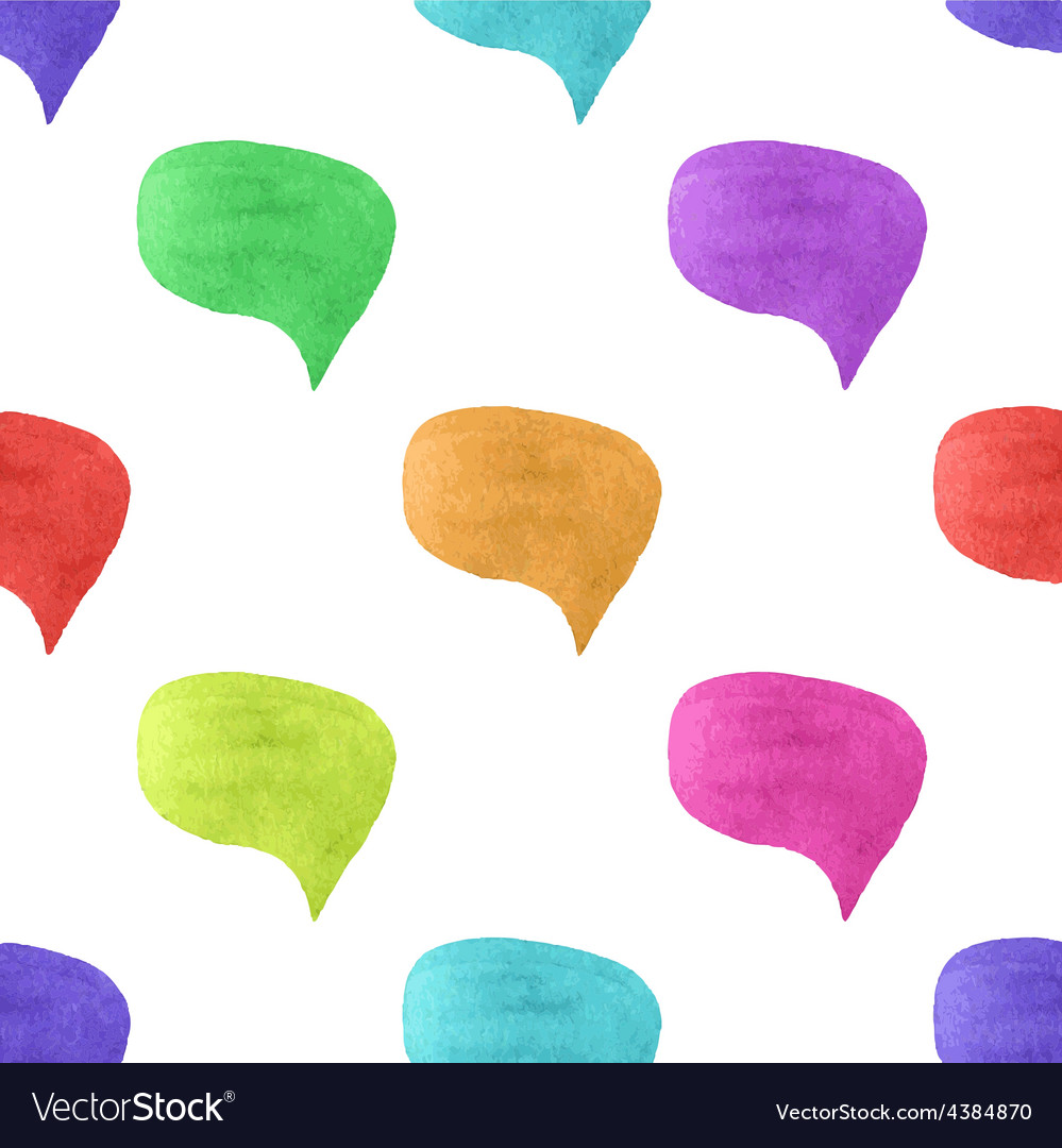 Seamless watercolor pattern with colorful speech