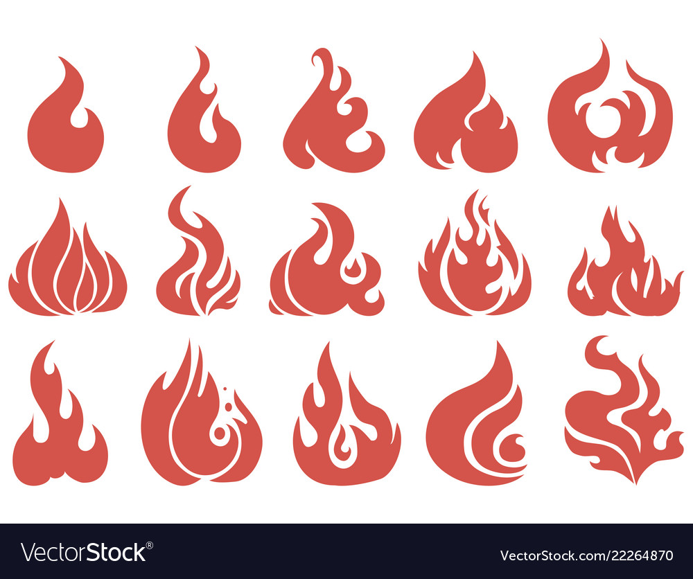 Set flame a collection stylized