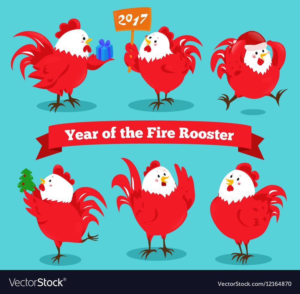 Set of cartoon chinese zodiac fire rooster