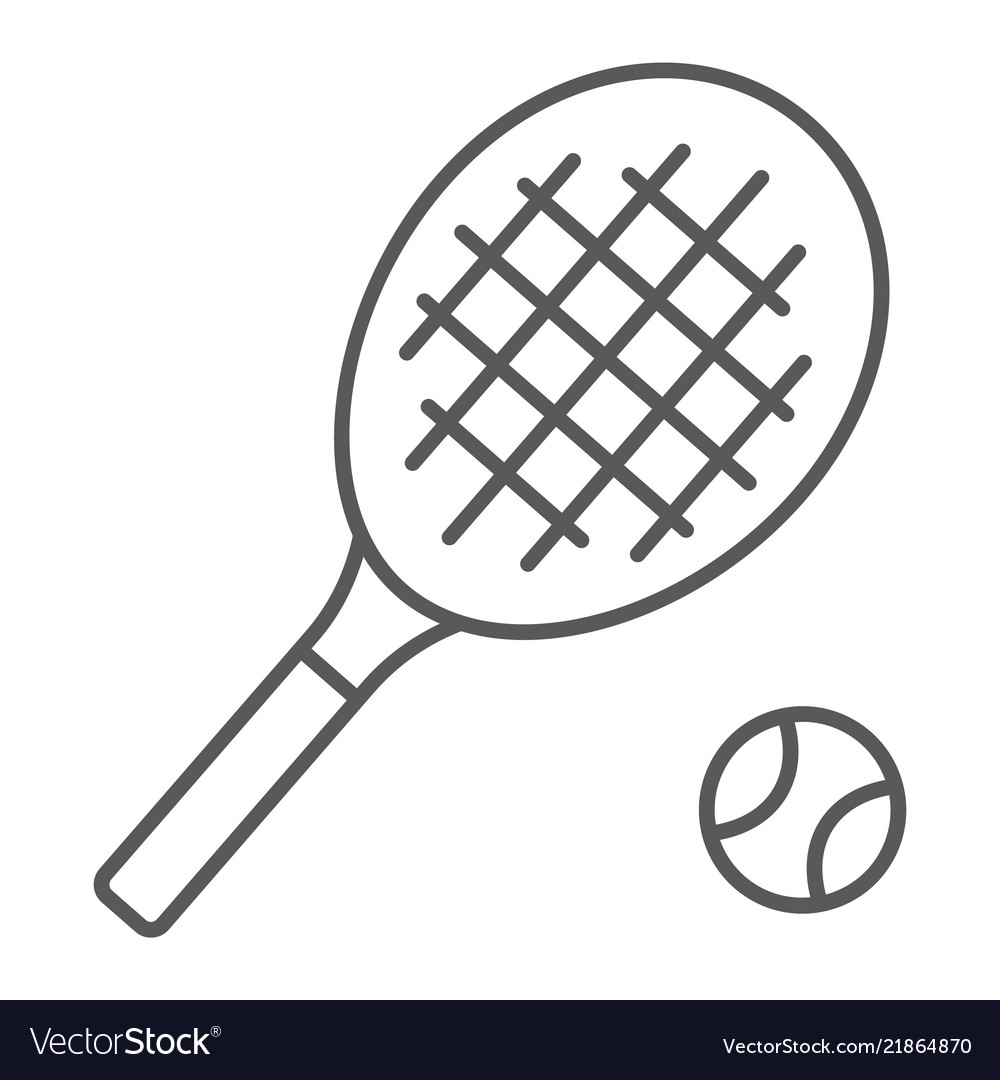 Tennis Thin Line Icon Game And Sport Racket Sign Vector Image