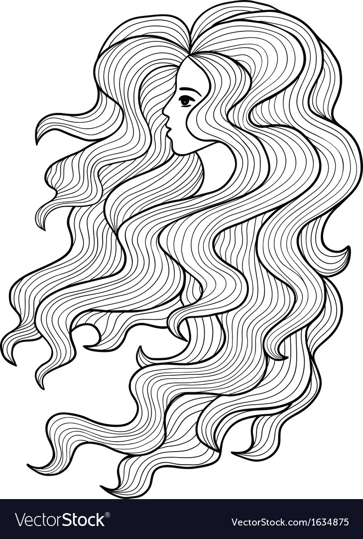 Black and white girl with long curly hair vector image