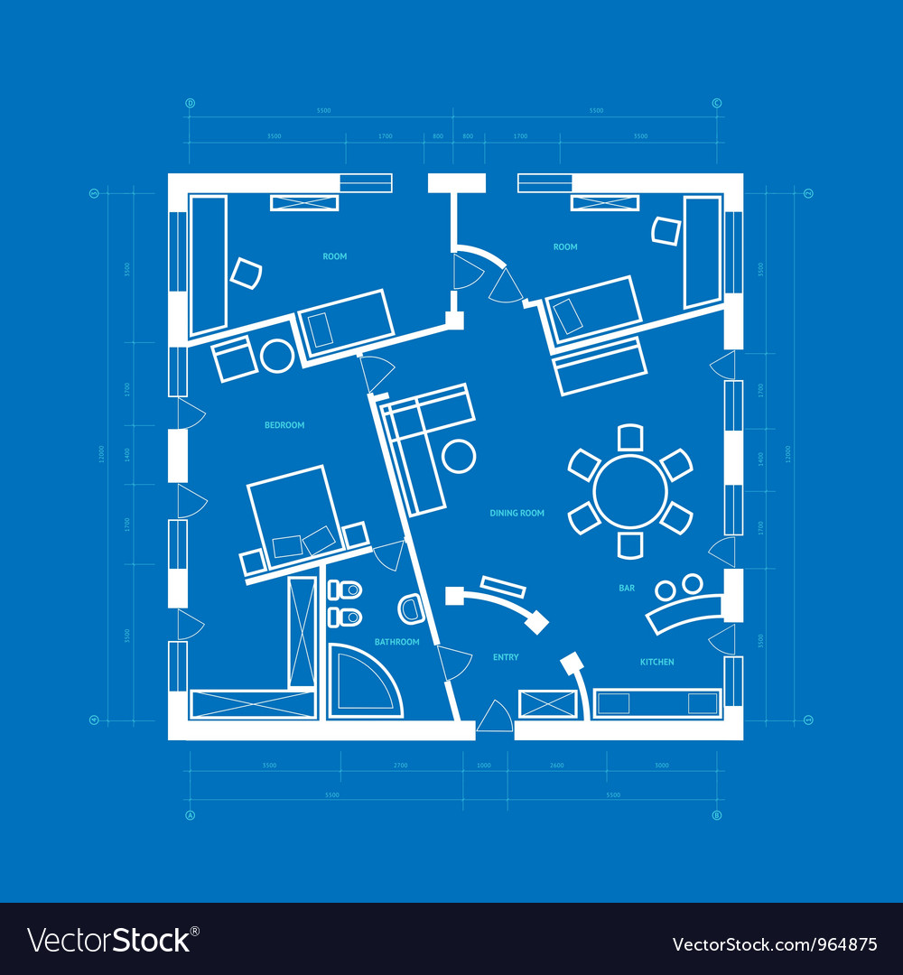 Blueprint of apartment royalty free vector image blueprint of apartment vector image malvernweather Image collections