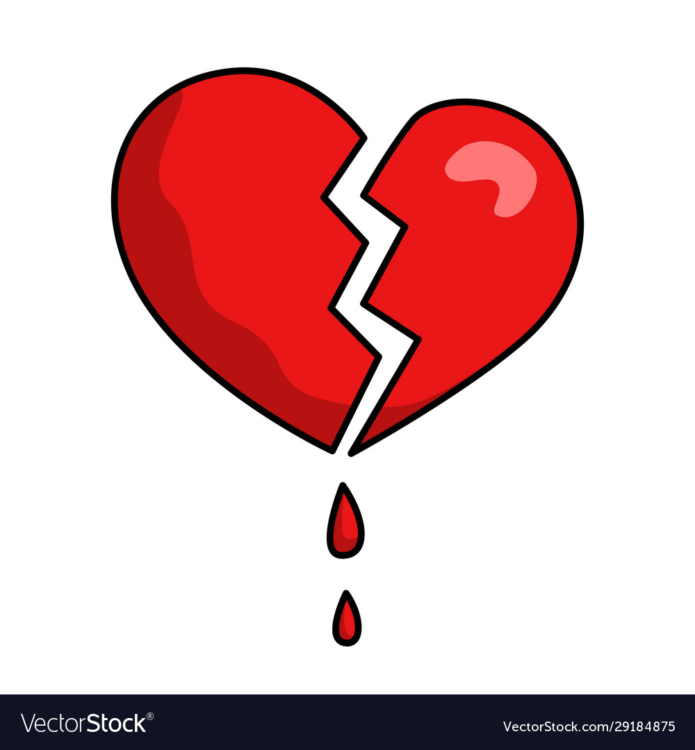 Broken damaged heart red icon blood drops