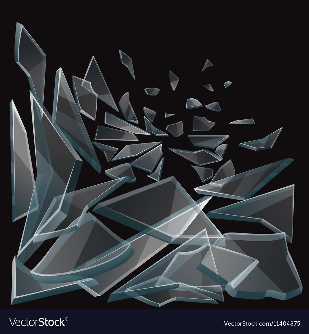 Broken glass pieces flow