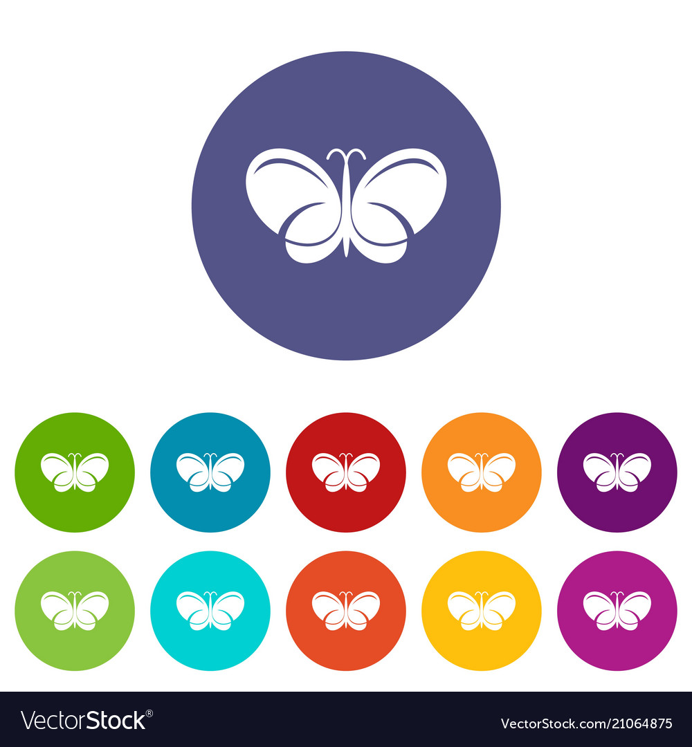 Butterfly icons set color