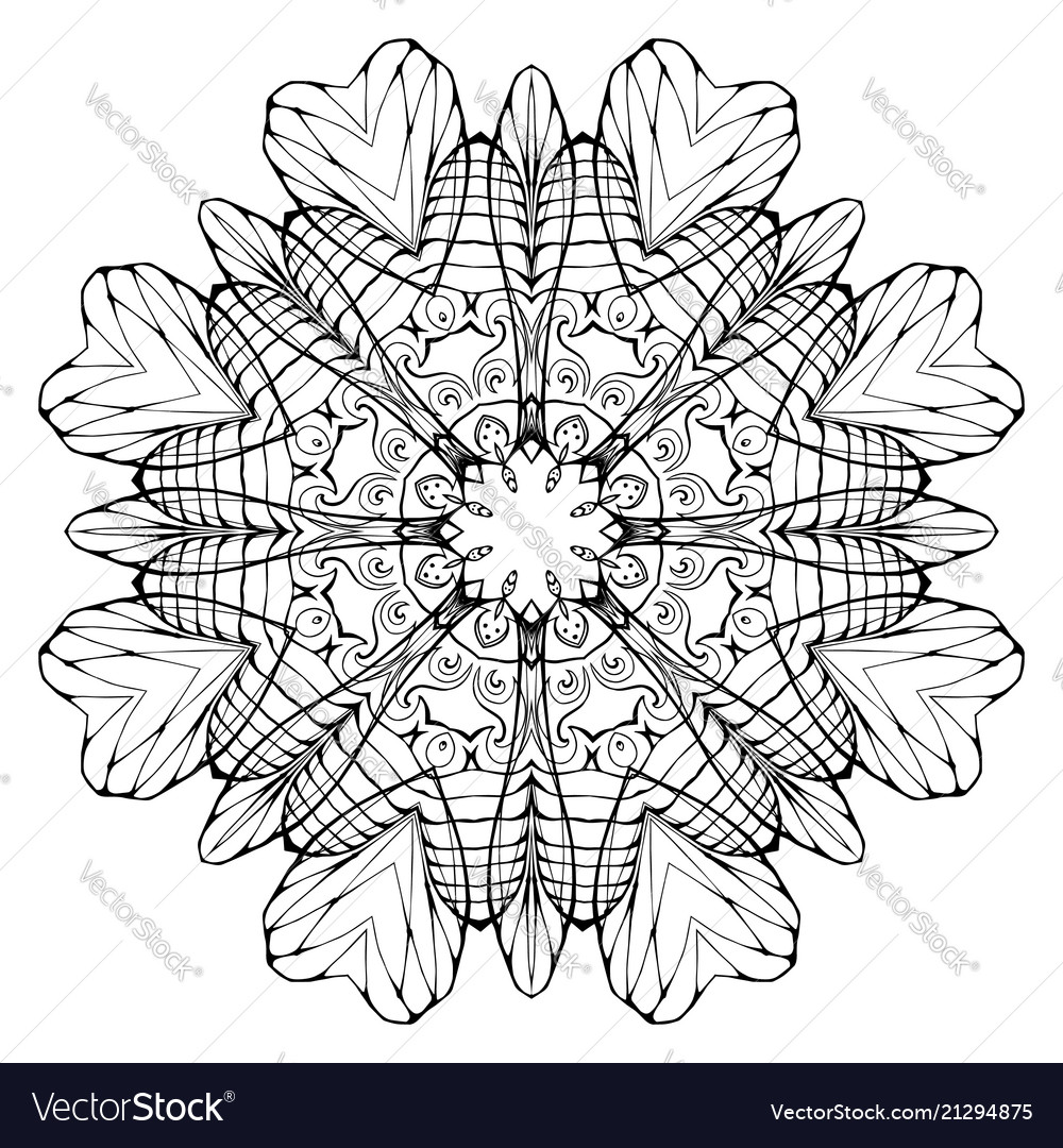 Circular abstract coloring book mandala element Vector Image