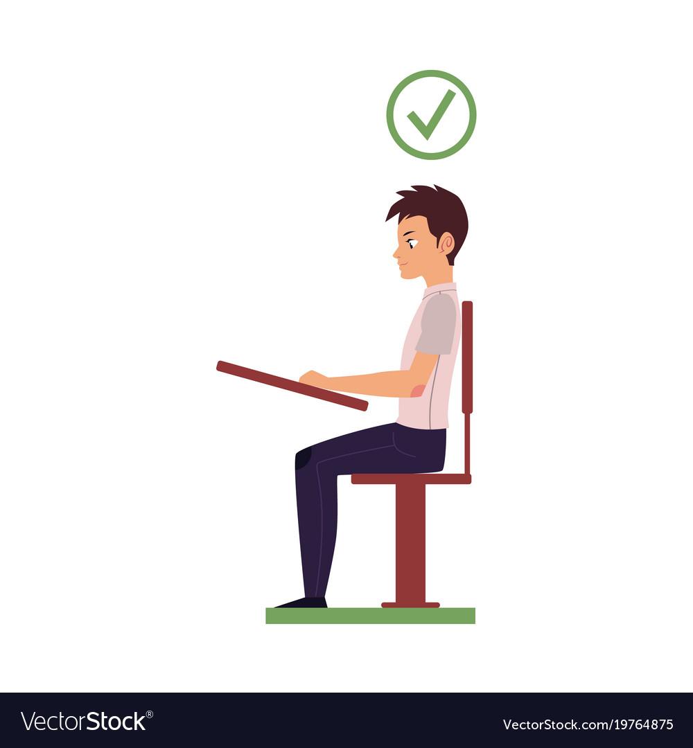 Correct Head Posture Sitting At Desk Royalty Free Vector