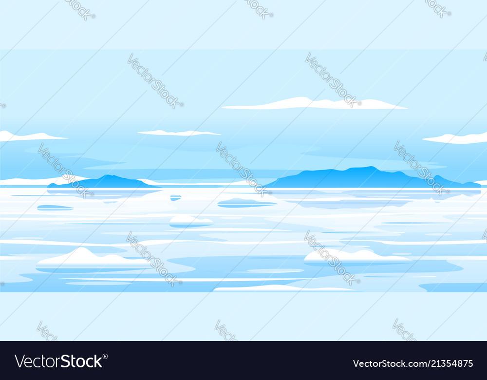 Frozen arctic ocean landscape background