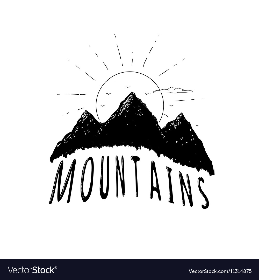 Graphic mountains vector image