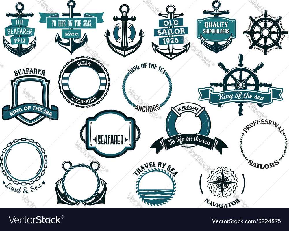 Set of nautical or marine themed icons and frames
