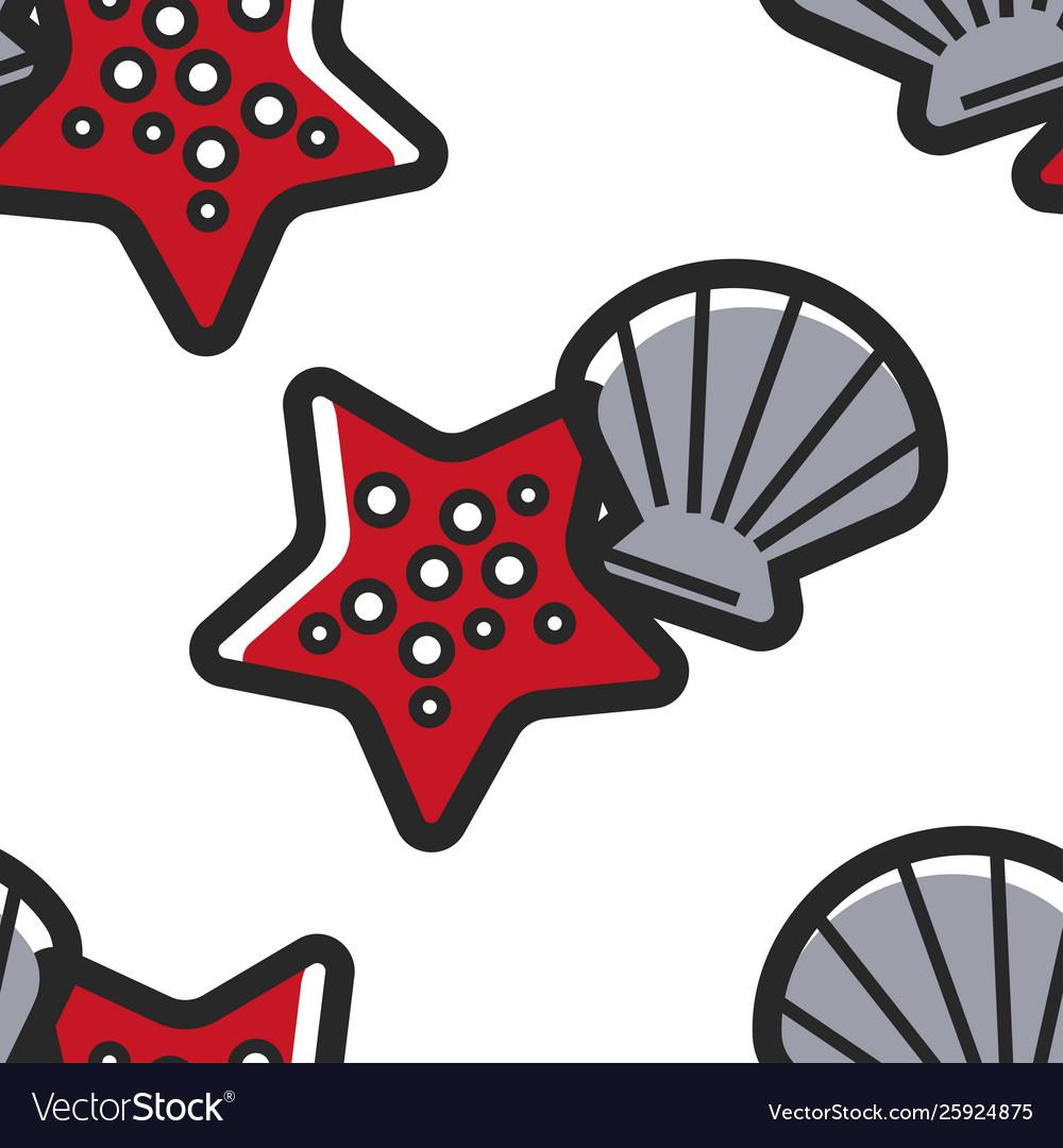Shellfish and starfish cuban sea bottom seamless