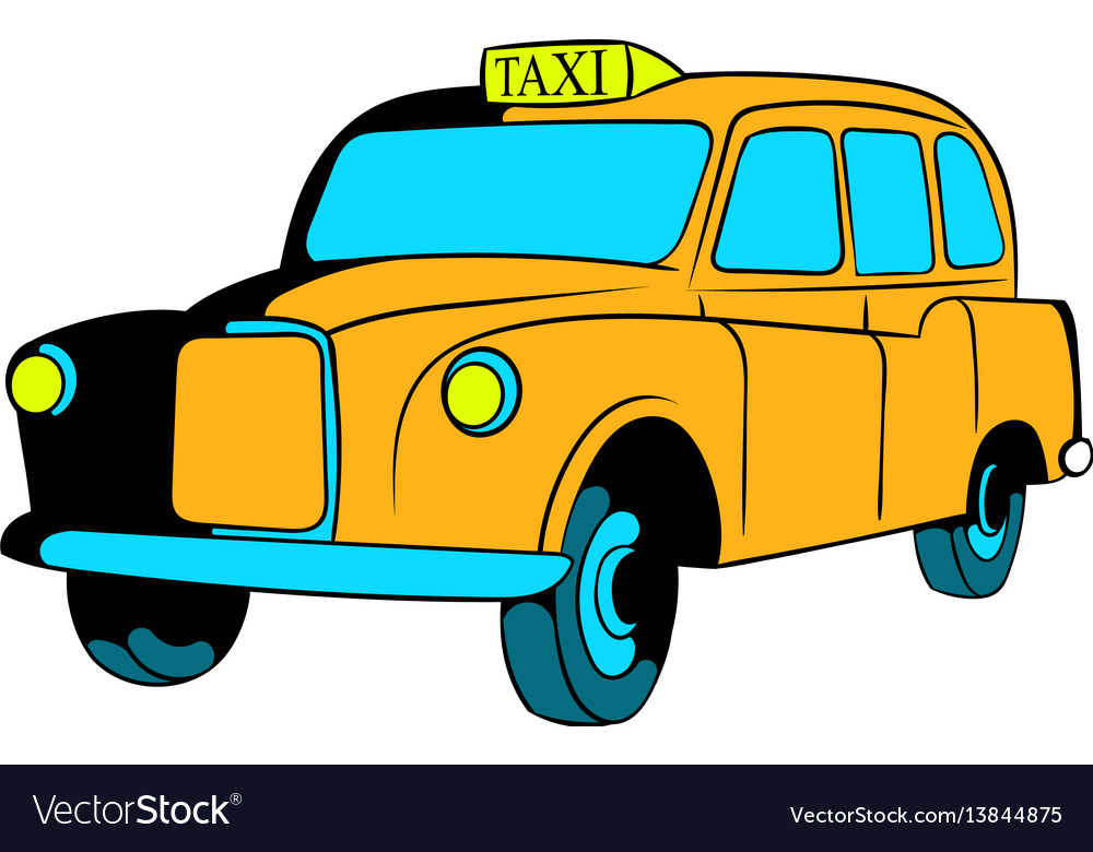 Yellow taxi icon cartoon vector