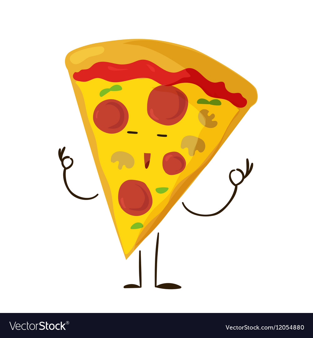 Funny fast food pizza slice icon vector image