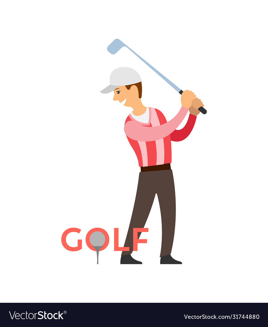 Golf player man with stick playing game poster