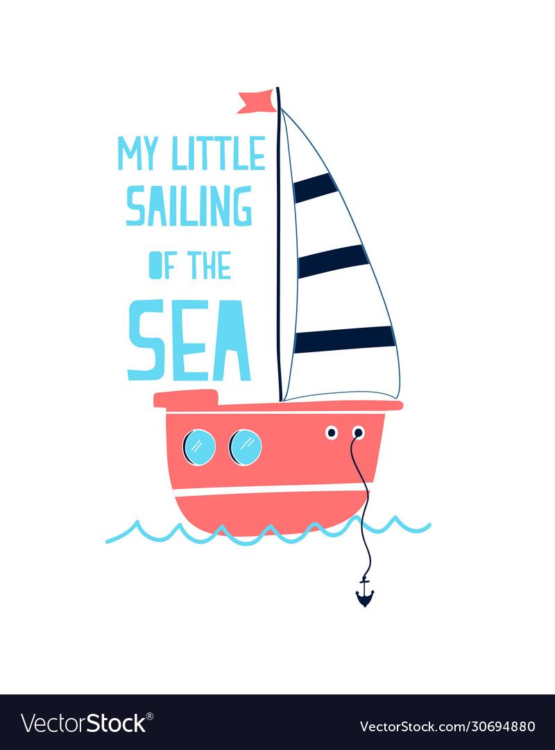 Hand drawing sailboat