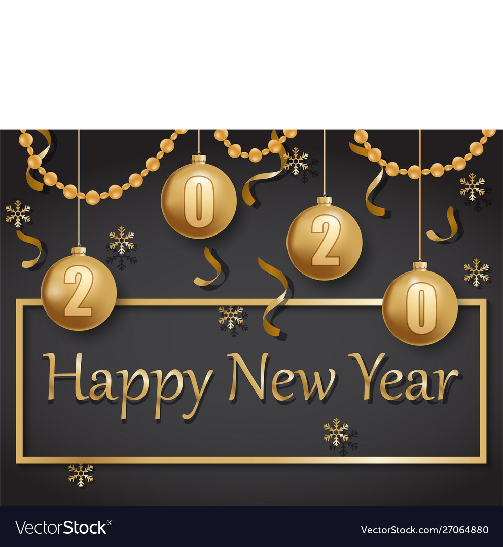 Happy new year 2020 gold and black