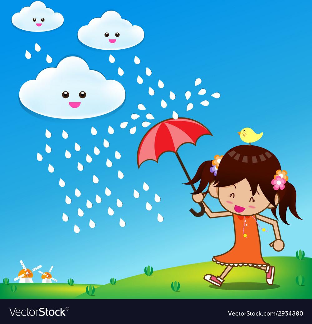 Little girl in rain day 001