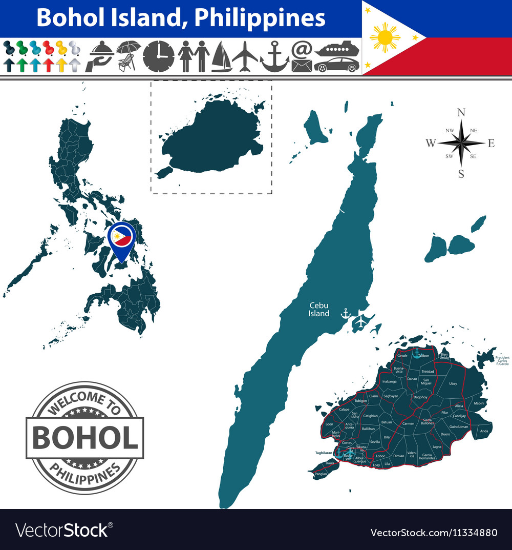 Map of Bohol island vector image