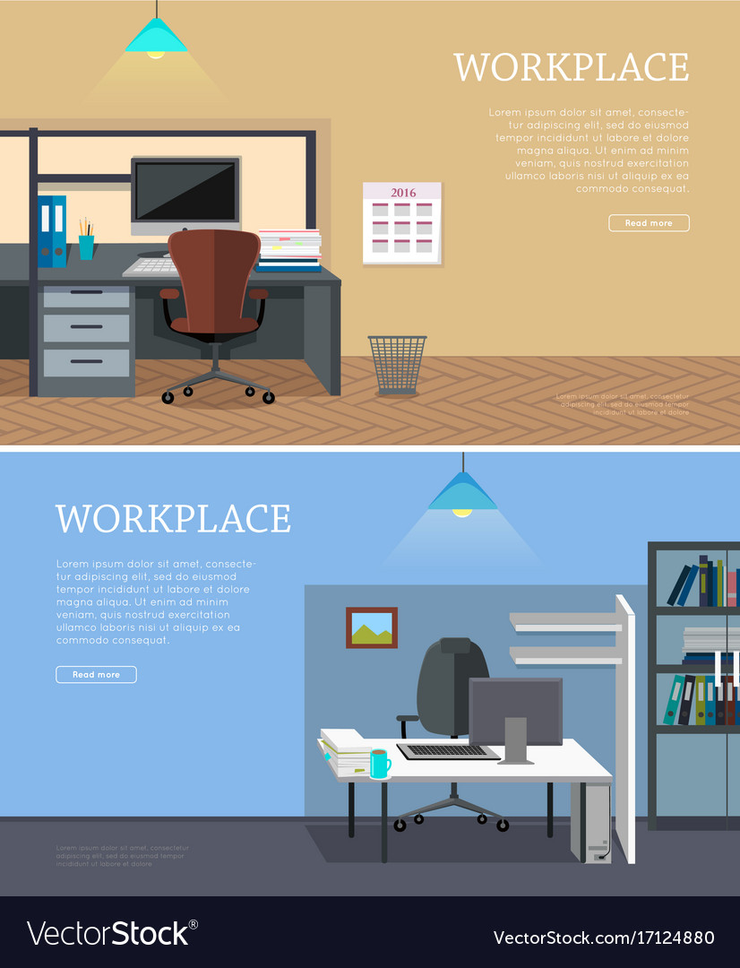 Set of workplace web banners in flat design