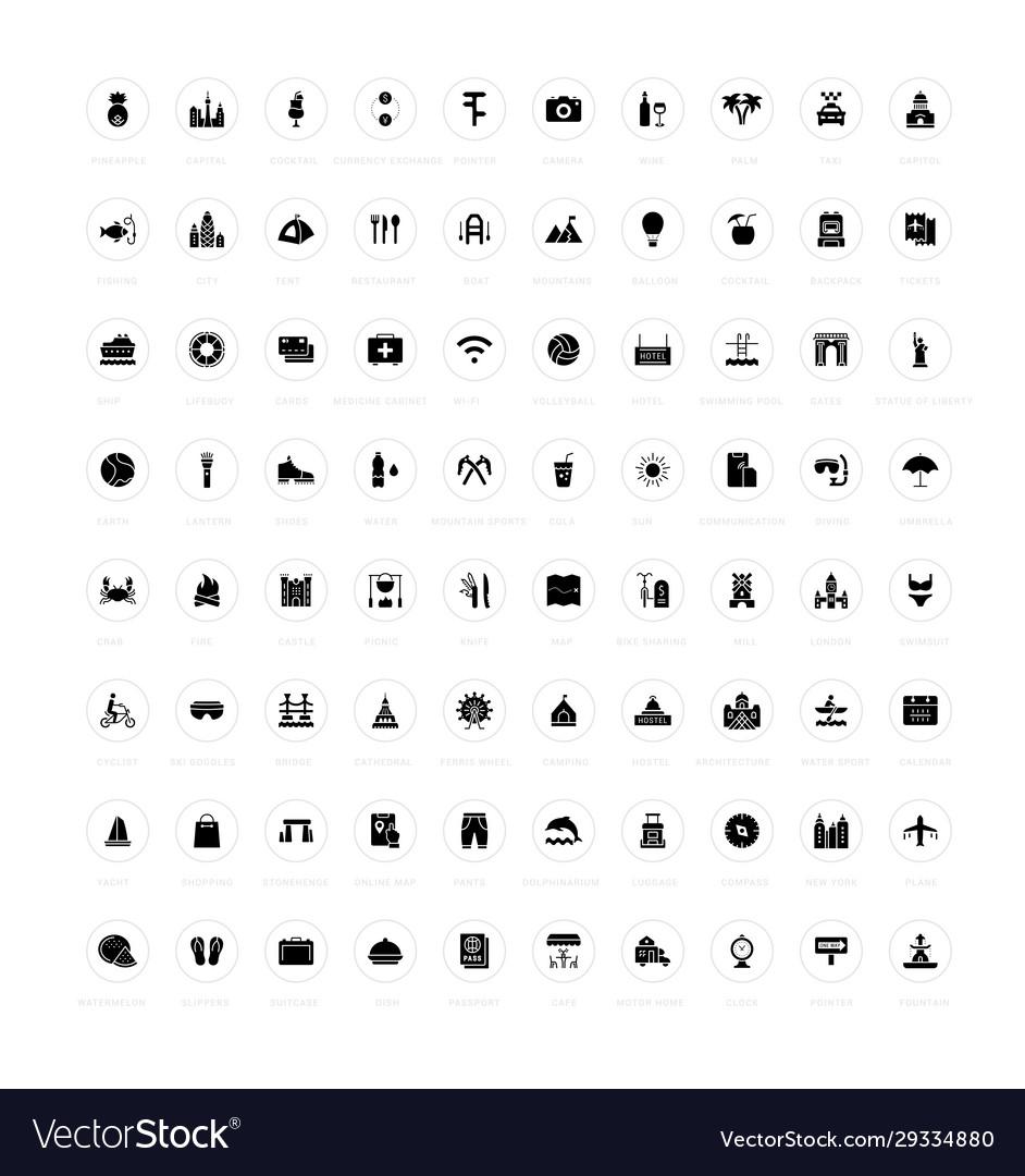 Set simple icons travel
