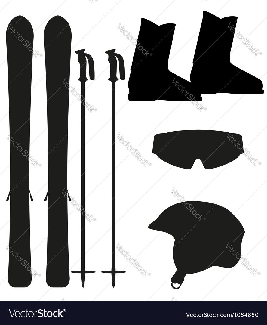 Ski equipment icon set silhouette