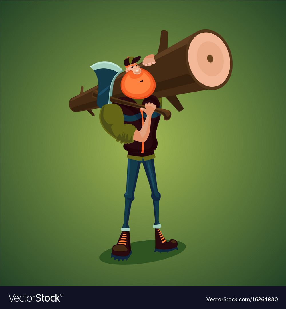 Strong lumberjack carries axe and big log