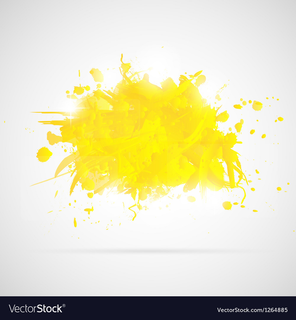 Abstract background with yellow paint splashes vector image