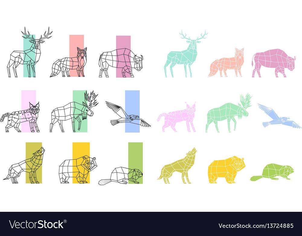 Animals polygonal linear set
