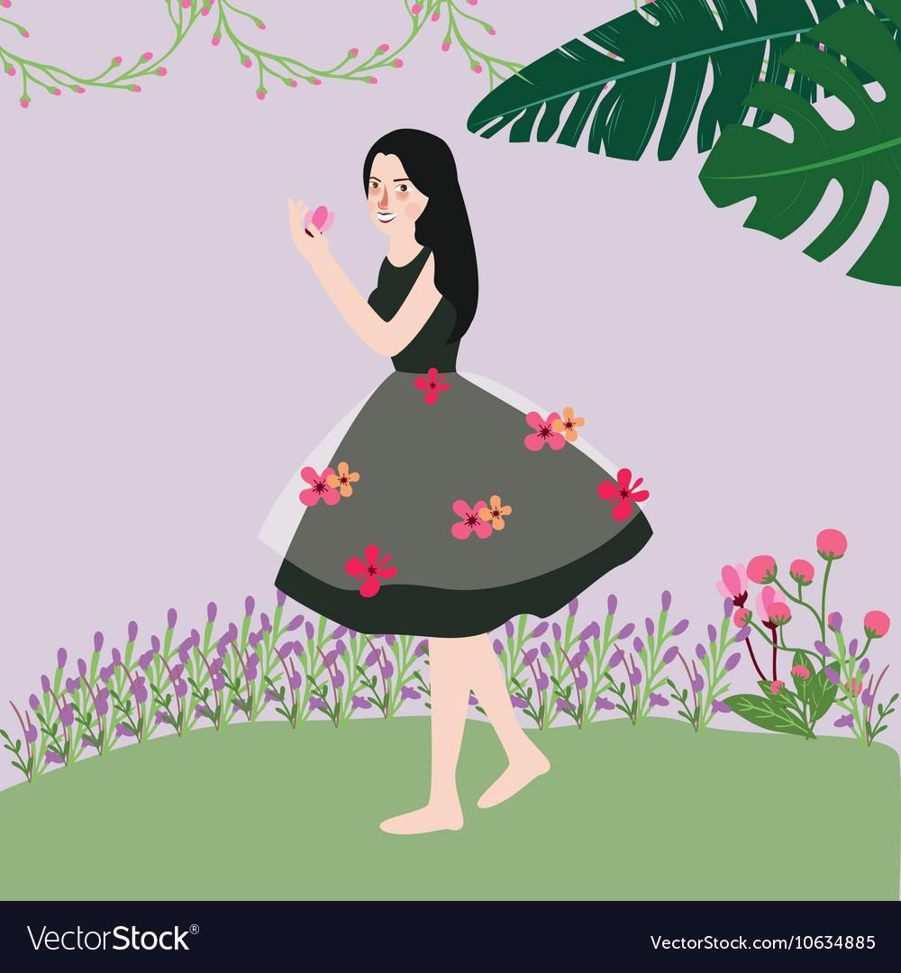 Beautiful cute woman wearing dress with flowers