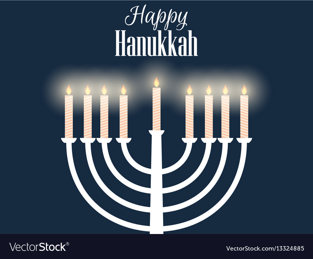 Happy hanukkah hanukkah candles flat design